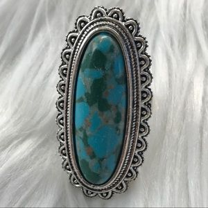 Silver Turqouoise Teal Oval Ring